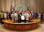 Staff from the Monument Management Agencies gather in Governor Ige's office for the Proclamation ceremony.