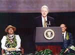 President Bill Clinton, Buzzy Agard and Tammy Harp at the announcement of the Executive Order establishing the Northwestern Hawaiian Islands Coral Reef Ecosystem Reserve in 2001 at the National Geographic Society headquarters in Washington, DC.