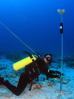 Carl Meyer deploys an acoustic receiver on the seafloor.