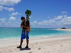 Kālewa Correa captures 3D spatial imagery with the Google Street View Trekker.
