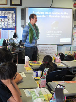 Daniel Wagner presenting at Island Pacific Academy.