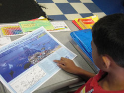 4th grade student studying the artistic fish identification activity.