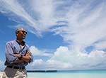 President Barack Obama at Turtle Beach on Midway Atoll National Wildlife Refuge and Battle of Midway National Memorial within Papahānaumokuākea Marine National Monument.