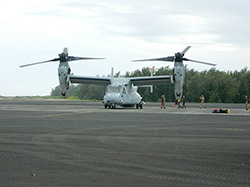 An Osprey drops the crew off at Midway Island where they meet up with other Northwest Hawaiian Island evacuees.