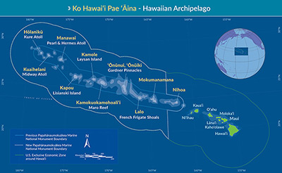 Papahānaumokuākea Marine National Monument map.