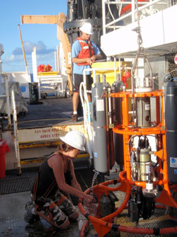 HPU scientists preparing for the deployment of CTD at Mokumanamana.