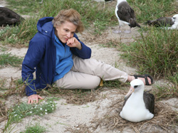 Dr. Sylvia Earle, and Wisdom share a moment together at Midway Atoll National Wildlife Refuge.