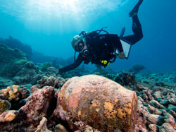 Dr. Kelly Gleason investigates a ginger jar at the <em>Two Brothers</em> shipwreck site.