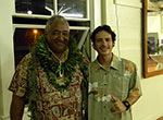 "Clarence ""Aku"" Hauanio (left), recipient of the 2015 Umu Kai Award, with Nākoa Goo (right), Mokupāpapa Discovery Center program coordinator."