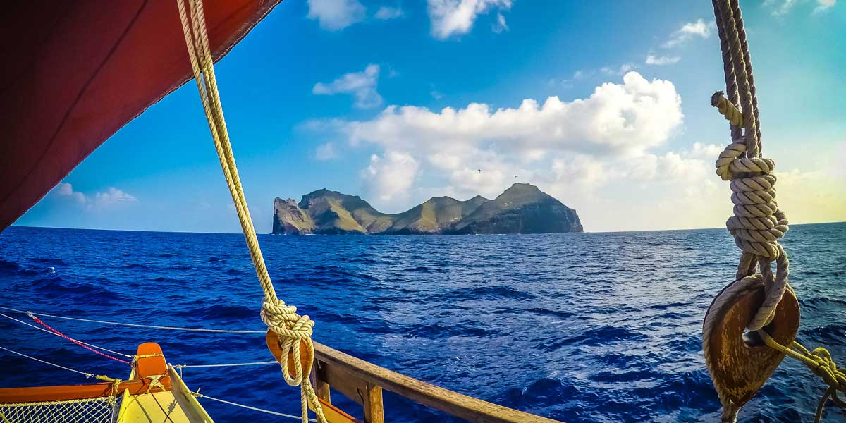 Nihoa as seen from aboard the Polynesian voyaging canoe Hikianalia.