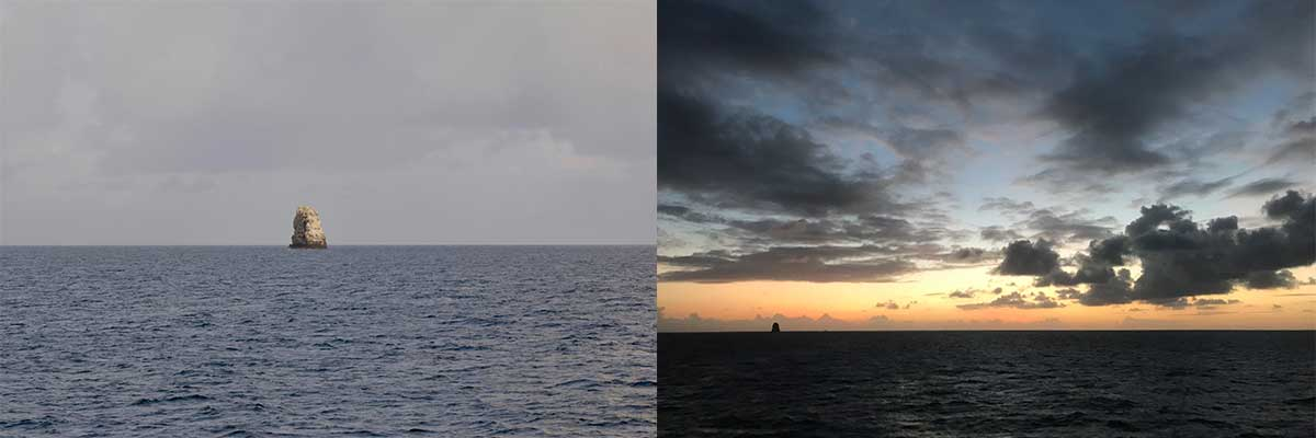 Two perspectives of La Perouse pinnacle. In the past, its been mistaken as a shipʻs sail because
