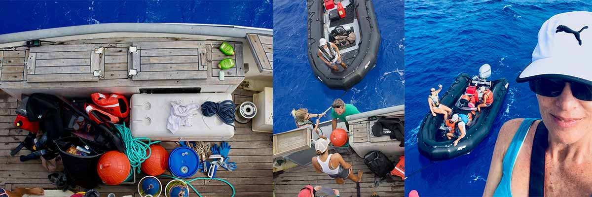 Left: Gear waiting to be loaded on the zodiac. Middle and Right: Gear waiting to be loaded on the zodiac.