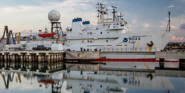NOAA's <em>Okeanos Explorer</em> docked at Pearl Harbor prior to a 22-day expedition to the Monument.